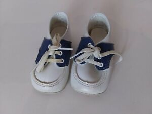 RARE VINTAGE Blue White Size 4 Baby Shoes Low Tops Made in USA Laces