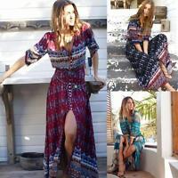 Fashion Women Summer Bohemian Tunic Floral Party Beach Long Maxi Dress Sundress