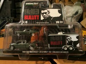 1/64 GREENLIGHT HOLLYWOOD 3 PIECE BULLITT 68 FORD MUSTANG & 2015 F-150 & HAULER