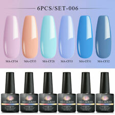 MEET ACROSS 6Bottles/set 8ML Pure Color UV Gel Nail Polish Soak Off Varnish Kit