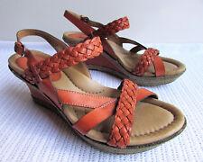 Earth Burnt Orange Plaid Leather Strappy Ankle strap Platform Wedge Heels Sz 11