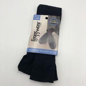 Vtg Leggs Wear Trouser Socks Comfort Plus Band Textured Navy Blue One Size