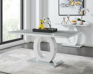 Giovanni White High Gloss Glass Dining Table Set RRP £899