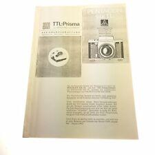 Reparaturanleitungen  Pentacon Six  +TTL Prismeneinsatz   ( 645 )