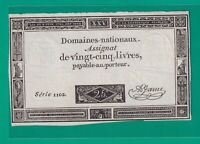 ASSIGNAT  FRENCH  REVOLUTION  25 LIVRES  1793 .G.    - CURRENCY BILL