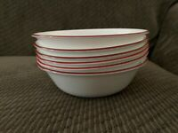 "Corelle Bandhani Soup Cereal Salad Bowls White with Red Rim 6 1/4""  Set/6"