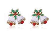FREE GIFT BAG Cute Christmas Xmas Crystal Bells Stud Earrings Ladies Jewellery