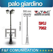 LAMPIONE LED PALO GIARDINO 2 METRI LANTERNA DOPPIA NERO ALLUMINIO V-TAC E27X2