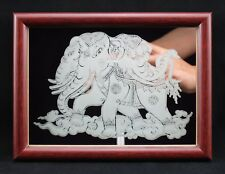 Thai version of Erawan Elephant Fine Glass Mirror Etching with Picture Photo Fra