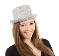 Lady Fancy Dress Plata oropel Disco Clubwear Top Hat Celebrity Unisex Accesorio