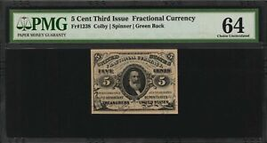 """1864-69  5 CENT FRACTIONAL CURRENCY FR-1238 CERTIFIED BY PMG """"CHOICE UNC."""" 64"""