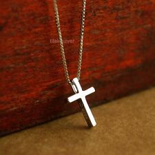 925 Sterling Silver Religious Cross Pendant Necklace Box Chain 16'' A2244