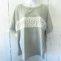 New Easel Top L Large Gray Star T Shirt Boxy Oversized Relaxed Fit Patriotic USA