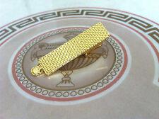 Mens 4CM Gold Tie Bar - Custom Grille Mesh Design - Skinny Clip Metal Clasp Pin