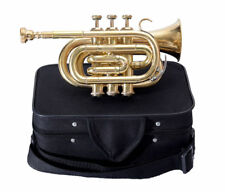 Bb POCKET TRUMPET GUARANTEE QUALITY SOUND**VALUEABLE! BRASS FINISH +W/CASE+M/P
