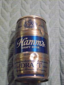 Gold/Blue HAMM'S DRAFT BEER CAN Tab TOP OPEN 12 oz empty STEEL Keg Shape