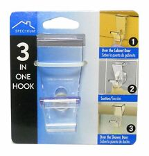 Spectrum 3 in 1 Over the Door Single Hook W / Removable Suction Cup