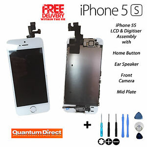 WHITE iPhone 5S Retina LCD Digitiser Touch Screen Replacement Assembly w/ Parts