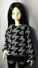 Black / grey print sweatshirt for MSD, 1/4 bjd DOLL