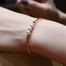 18ct Solid Rose Gold Bracelet With Natural Freshwater Pearls Beauty