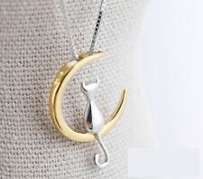 "Golden Sterling silver Moon Cat Love pendant necklace 18"" Chain Gift box L17"