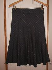 Lola Juniors 5 Gray Silver Plaid Poly Blend Flared Gored Skirt