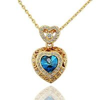Heart of the Ocean Necklace Pendant for Women Gift for Her MOM Gold plated