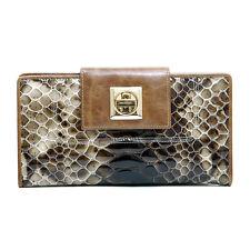 Women's Genuine Tri-fold Checkbook Wallet Snakeskin Texture & Twist Lock Coffee