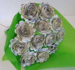 Scallop Sheet Music Paper Flower Bouquet, Table Centerpiece, Wedding Decoration