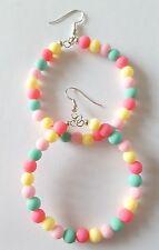 New Handmade 50MM Multi Colour Acrylic Round Beaded Hoop Dangle Drop Earrings