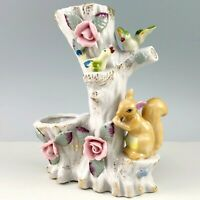 Enesco Porcelain Bud Vase Squirrel Birds Spill Vase Hand Painted Roses Gold Vtg