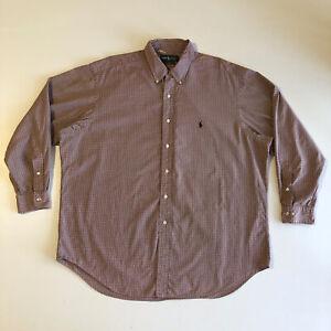 Ralph Lauren Men's Yarmouth White/Red Plaid Design LS Shirt Sz 17 1/2  34/35