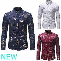 Floral Shirt Dress Shirts Top Long Sleeve Luxury Mens Stylish Slim Fit Casual