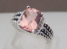 David Yurman Sterling Silver Petite Morganite & Diamond Wheaton Ring Size 7
