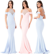 Goddiva Diamante Pearl Embellished Fishtail Maxi Evening Dress Prom Bridesmaid