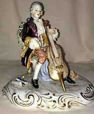 A Continental Porcelain Figurine of a Cello Player