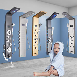 Bathroom LED Shower panel column tower Waterfall Massage Body Jets system Mixer