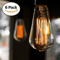 6-Pack Edison Light Bulb, Antique Vintage Style Light, Amber Warm, Dimmable