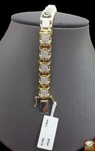 Real 10K Yellow Gold 9 Inch Men's Diamond Tennis Bracelet,Uniquely Designed,