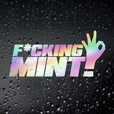 Fucking Mint Meme Funny Car Oil Slick Neo Chrome Sticker JDM Drift Rat Look Dub