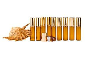 5ml Amber Glass Bottle S/Steel Roller Ball Essential Oil  Aromatherapy 10Bottles