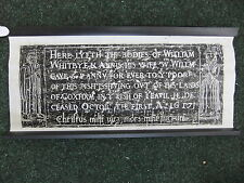 Brass rubbing MUDFORD SOMERSET, William and Annos Whitbye 1617      ...  14/1