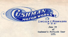 Cushman Scooter * Cushman Motor Works * Letter with Engraved Letterhead * 1951
