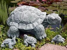 Steinfigur Schildkröten Set Gartendeko Gartenfigur Steinguss frostfest