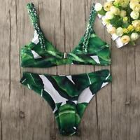 Women's Tropical Swimwear Bikini Set Bandage Push-Up Swimsuit Beachwear Bathing