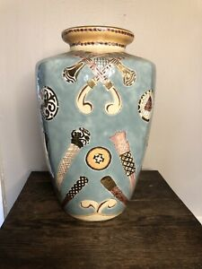 """Vintage Toyo Turquoise Vase with Gold Etcing 12.5"""" tall Made in Japan, Perfect"""