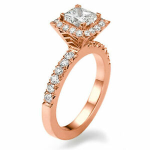 1.00 CT Beauty Princess Cut Diamond Engagement Ring 18K Yellow Gold H/SI2