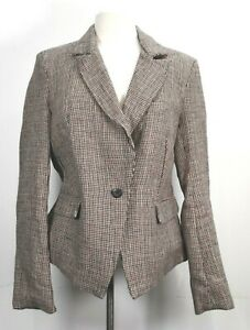 Free People Women Houndstooth Notch Lapel Linen One Button Career Dress Blazer S