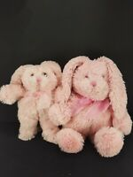 2 floppy Easter Bunny Rabbit Pink Furry Plush Stuffed Pink Bow Doll Toy Soft
