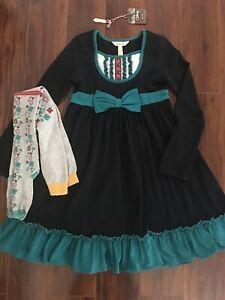 Matilda Jane Sense of Wonder Black Ruffle Bib Dress & Scroll Floral Tights Sz 8